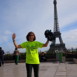Ms. Seguna wearing her We Don't Stand By / We Stand Up Tee Shirt in Paris